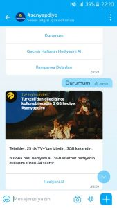 Turkcell bedava internet